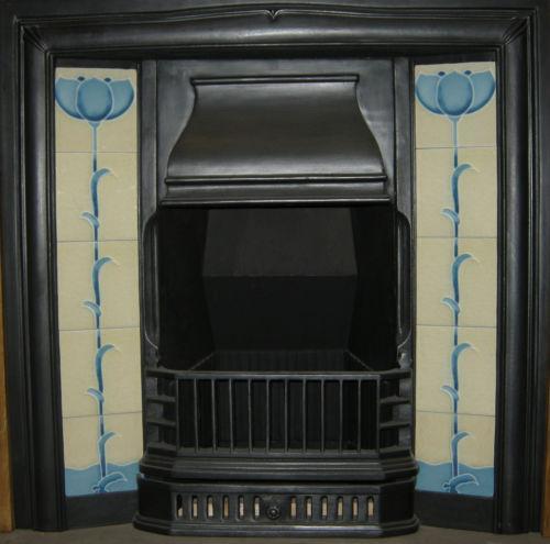 Art Nouveau Blue / Cream Stylised Floral Fireplace Tile Set