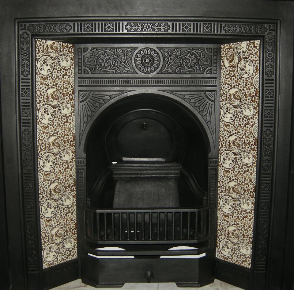 Aesthetic Movement tile Stork & Fan Fireplace Tile Set
