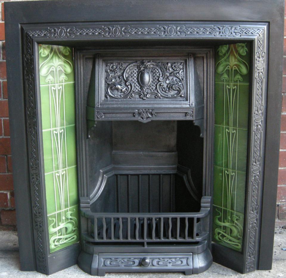 Green Art Nouveau Fireplace Tiles Set ref 025 green set