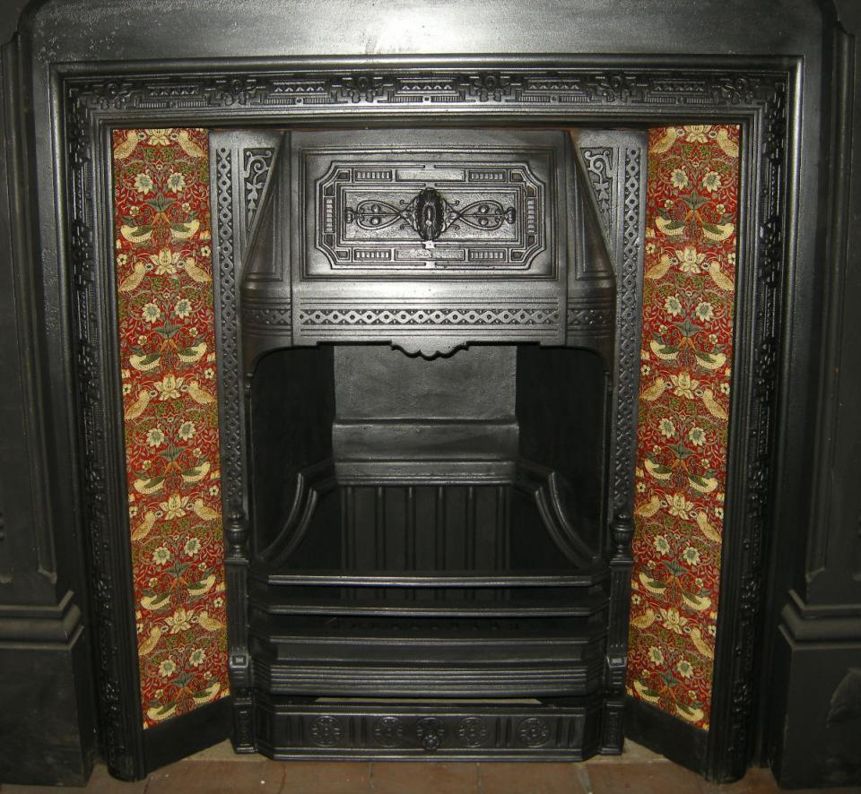 William Morris Strawberry Thief Red Arts & Crafts Tile Set