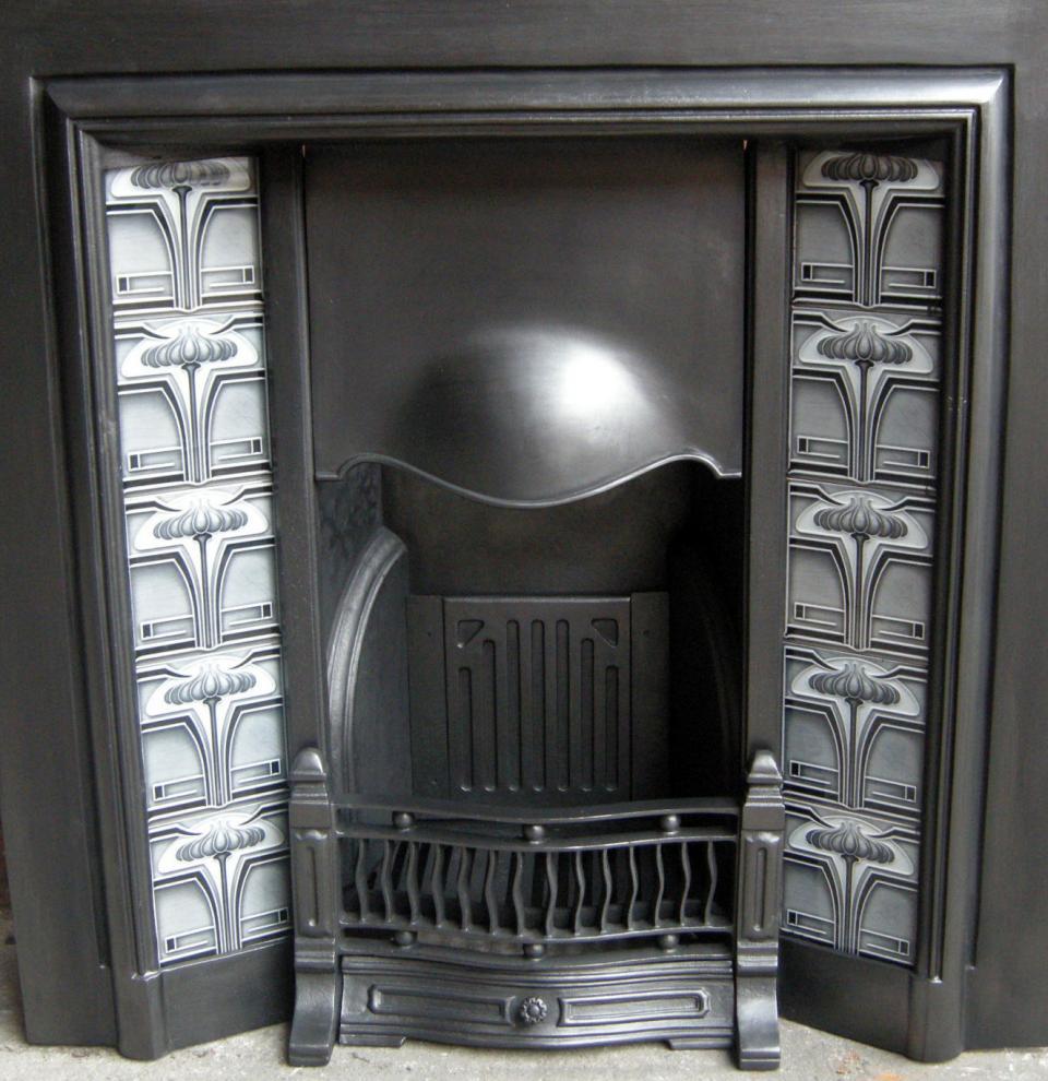 Art Nouveau Fireplace Tiles ref 011 set grey