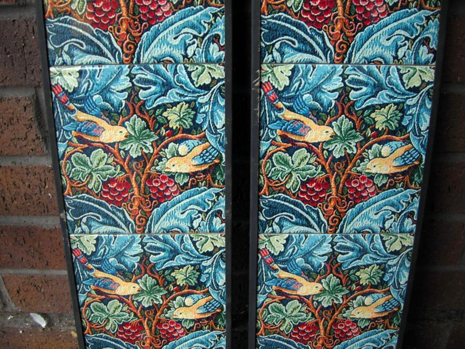 William Morris Strawberry Thief Detail Arts & Crafts Tile Set