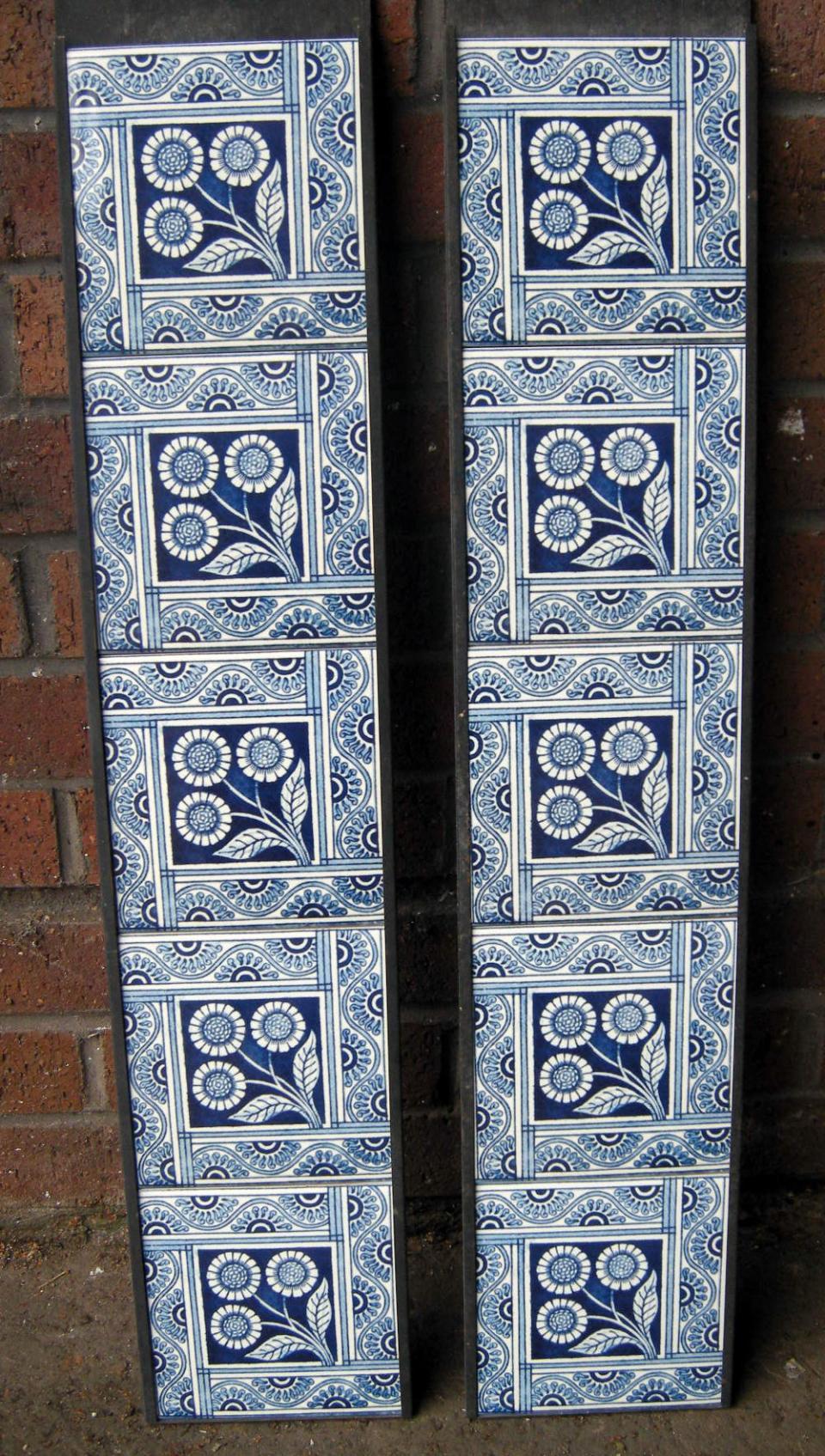 Aesthetic Movement tile Blue Daisy Fireplace Tile Set