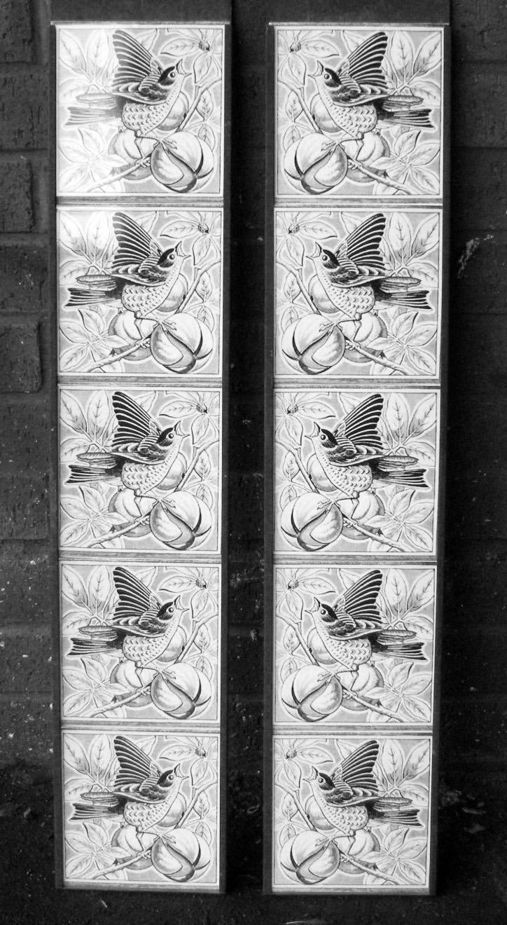 Victorian Style Bird Grey 08  Fireplace Tiles Set
