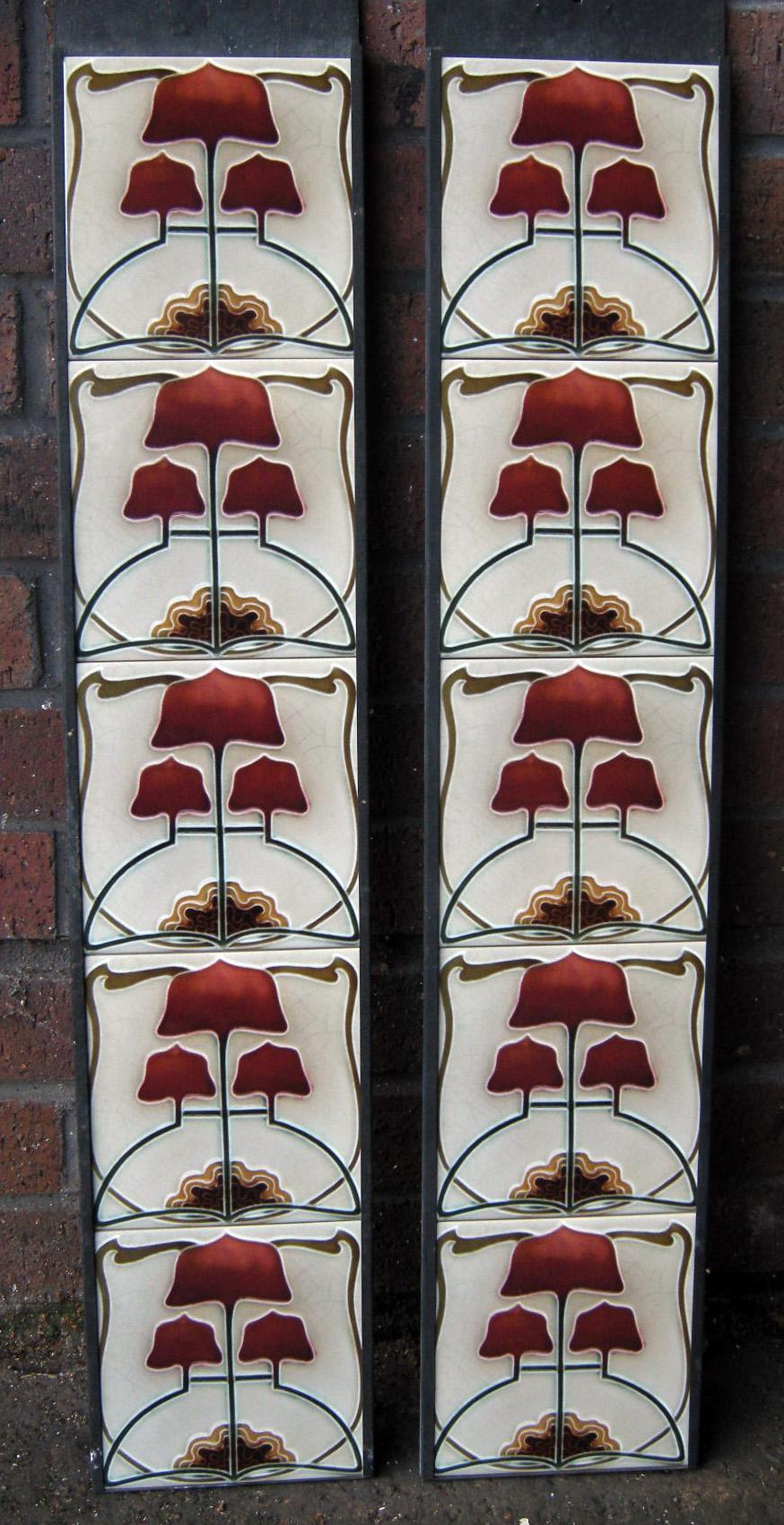 Art Nouveau / Arts & Crafts Fireplace Tiles ref 023set