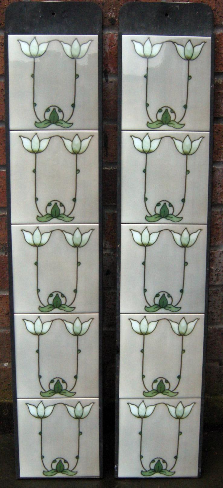 Art Nouveau / Arts & Crafts Fireplace tiles set ref 081set