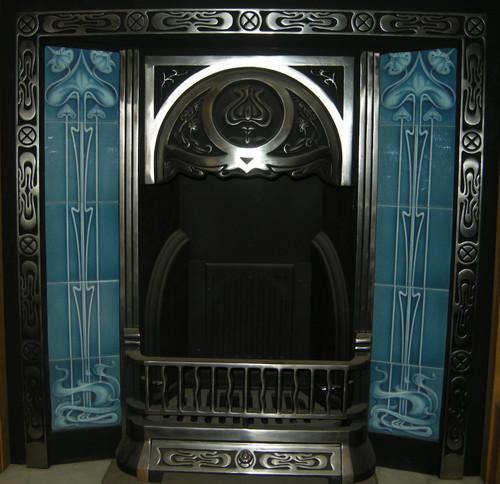 Gas or Decorative Turquoise Art Nouveau Fireplace Tiles Set ref 025 set