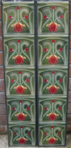 Art Nouveau / Arts & Crafts Fireplace Tiles ref 014 set