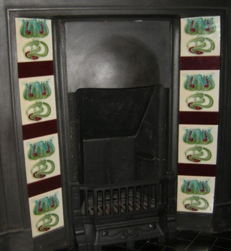 Superb Art Nouveau Fireplace Tiles ref 001 set