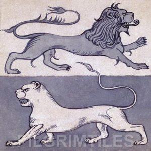 William de Morgan Design Lions Fireplace Tiles  blue/white
