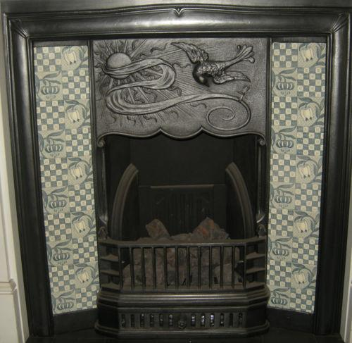 Tulips & Chequers fireplace tiles set