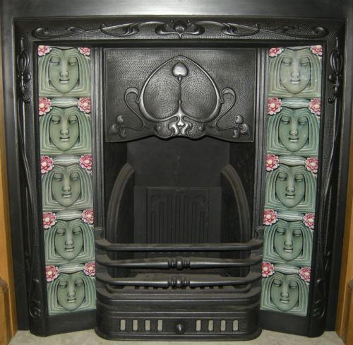 Art Nouveau Maiden Fireplace Tile Set