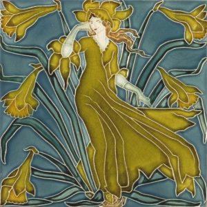 Walter Crane Flora'sTrain tile Daffodil