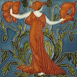 Walter Crane Flora'sTrain tile Poppy