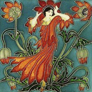 Walter Crane Flora'sTrain  tile Anenome