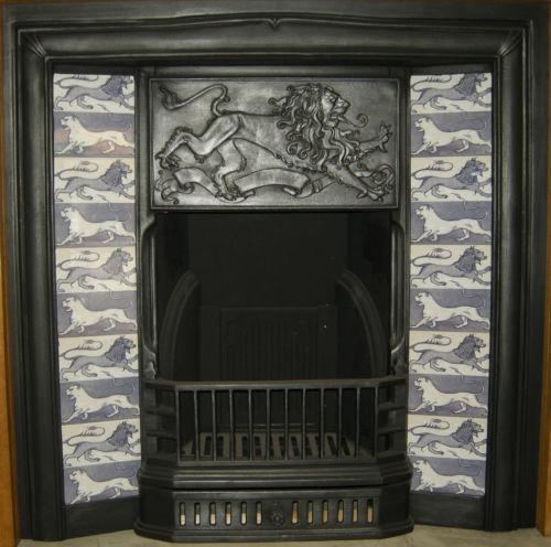 William de Morgan Design Lion Fireplace Tiles Set blue/white.
