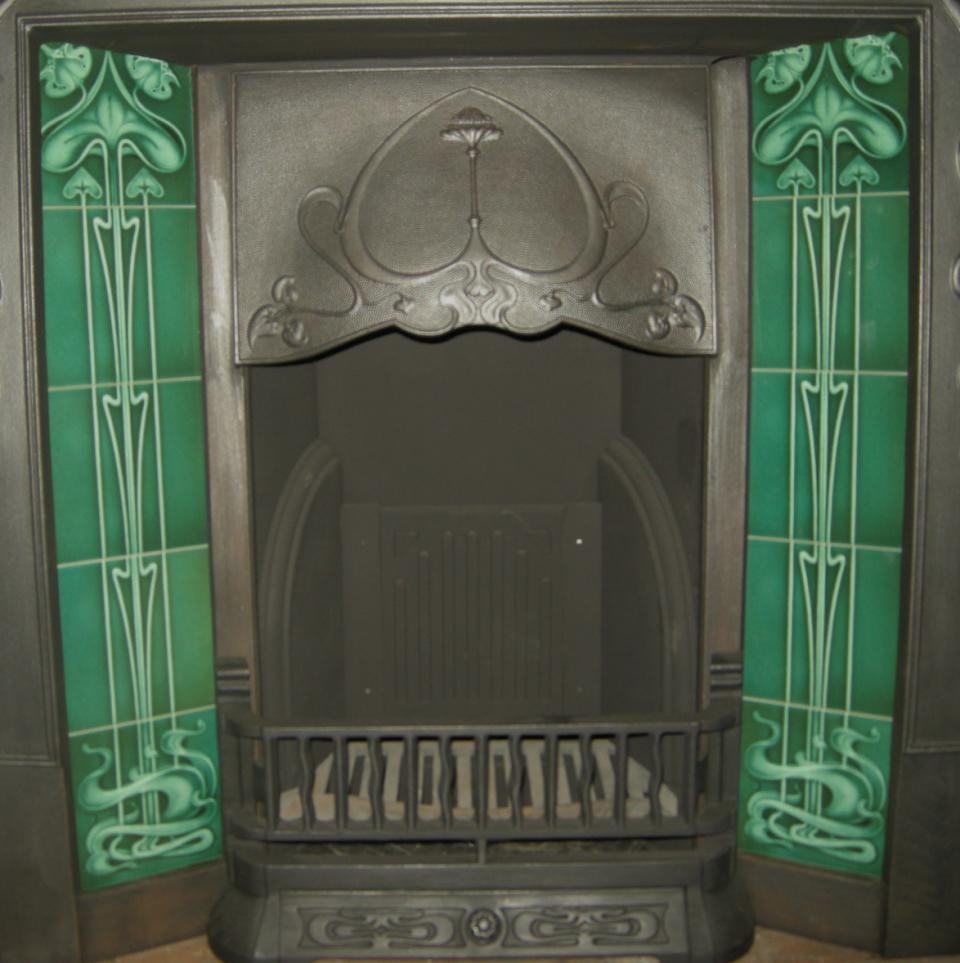 Gas / Decorative Art Nouveau Fireplace tiles Set ref 25 bottle green