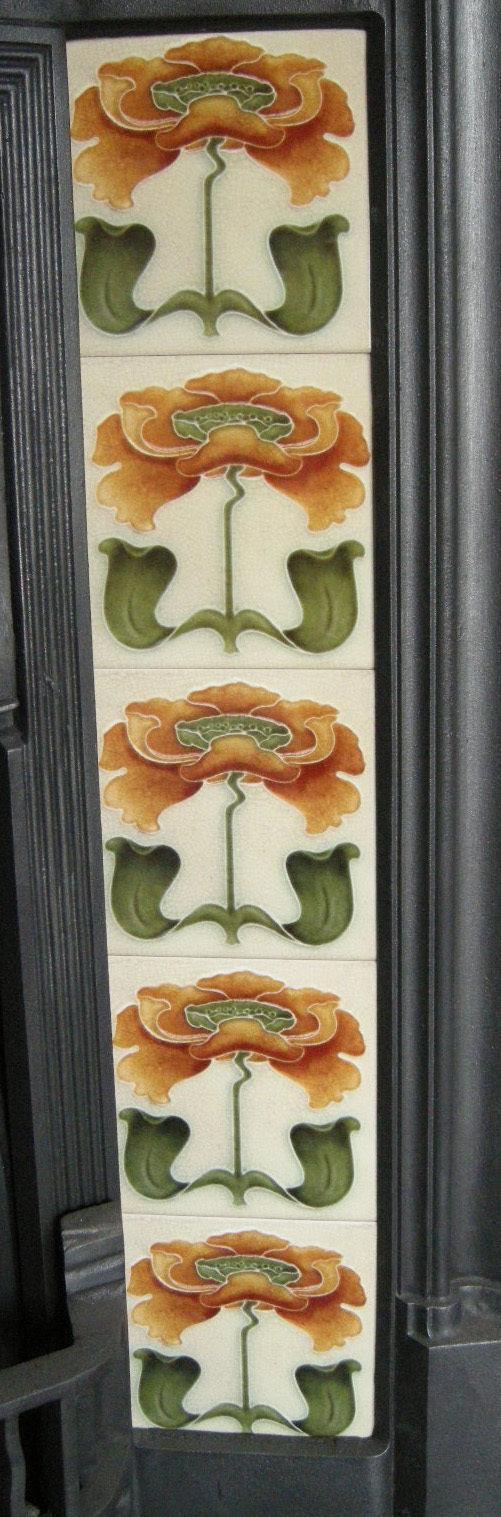 Stylised Art Nouveau Fireplace Tiles ref 018a set