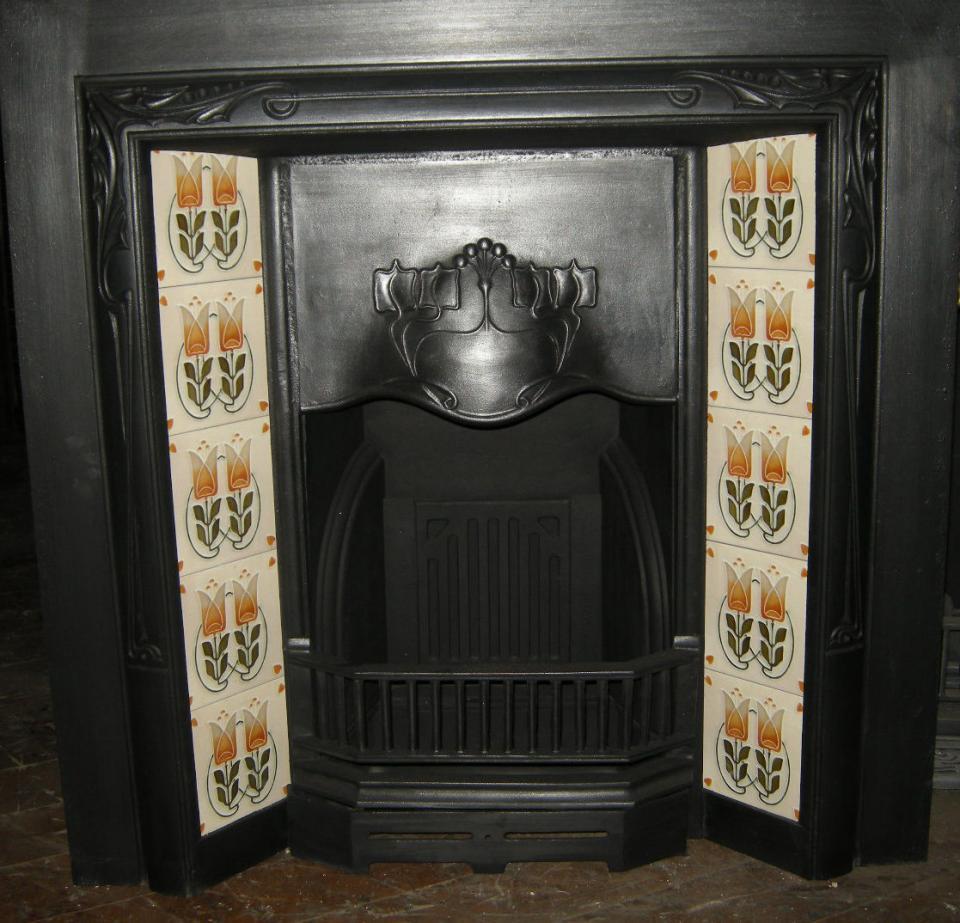 Stylised Art Nouveau Fireplace Tiles ref 029 set