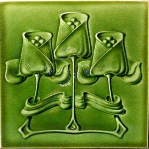 Art Nouveau Single Colour Stylised Green Flower Tile ref 010