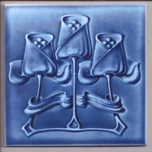 Art Nouveau Single Colour Stylised Blue Flower  Tile ref 010