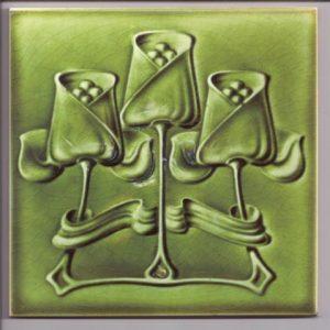 Single Colour Stylized Flowers Art Nouveau Tile ref 010 green
