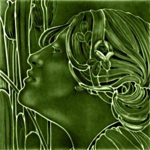 Lady Green Art Nouveau Arts and Crafts Tile  an113