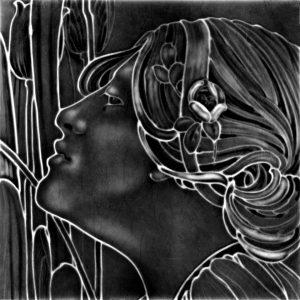 Lady Black Art Nouveau Arts and Crafts Tile   an114