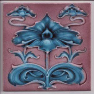 Art Nouveau Tourquoise & Pink Stylized Tile ref 013.