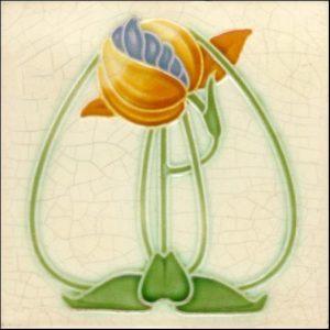 Delicate Stylised Floral Art Nouveau Tile ref 016