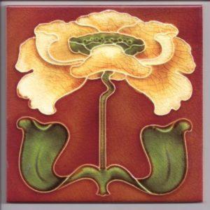 Stylish Art Nouveau Iris Tile ref 019