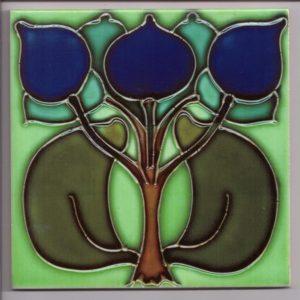 Art Nouveau Bright Green / Blue Stylised Floral Tile ref 002