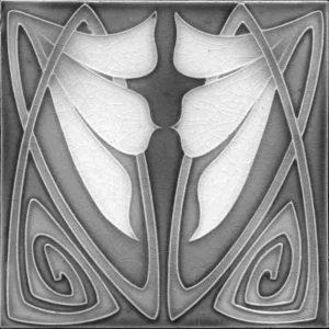 Art Nouveau / Arts & Crafts floral tile ref 20 Grey
