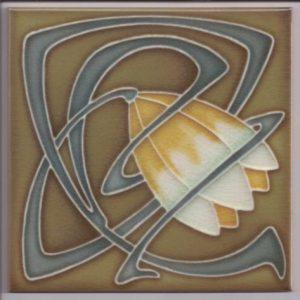 Art Nouveau / Arts & Crafts floral tile ref 21