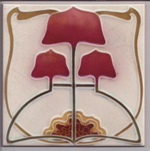 Stylised Art Nouveau / Arts & Crafts Tile ref 023