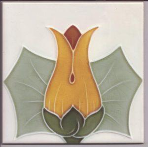 Stylised Tulip Head Art Nouveau Tile ref 026
