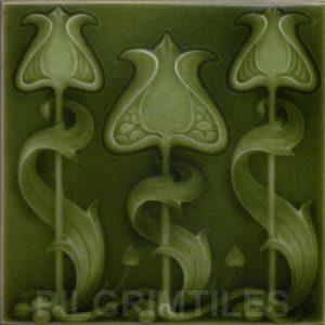 Art Nouveau / Arts & Crafts floral tile ref 27