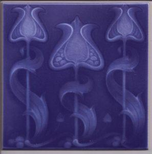 Art Nouveau Stylised Flower Single Colour Tile ref 027 blue