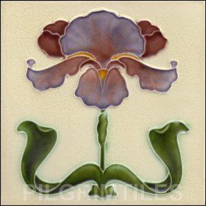 Art Nouveau Stylised Iris Tile ref 030