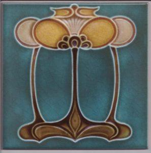 Art Nouveau / Arts & Crafts floral tile ref 031