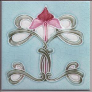 Art Nouveau / Arts & Crafts floral tile ref 032