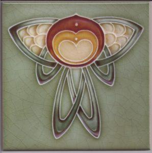 Art Nouveau / Arts & Crafts floral tile ref 033