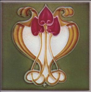 Art Nouveau / Arts & Crafts floral tile ref 36 Green