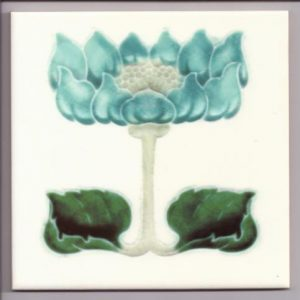 Art Nouveau Stylised Floral Design Tile ref 009