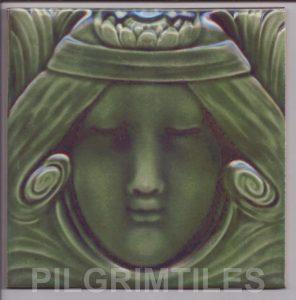 Lady  Green Headband Art Nouveau Arts and Crafts Tile121