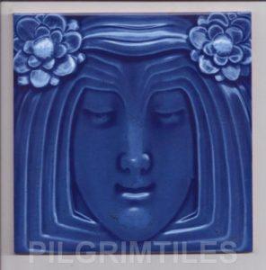Lady Blue Art Nouveau Arts and Crafts Tile  an117