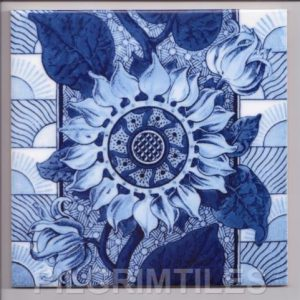 Blue Sunflower Arts and Crafts tile