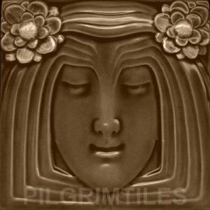 Lady Bronze Art Nouveau Arts and Crafts Tile An 118