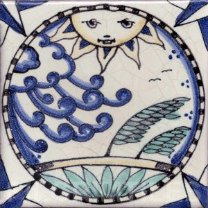 Arts and Crafts Style decorative tile Cosmos 1