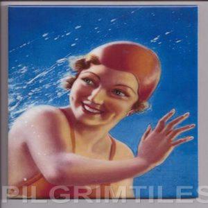 Art Deco Style  Tile Bathers